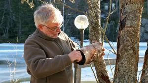 Mies puhdistaa kepillä linnunpönttöä edellisvuoden roskista.