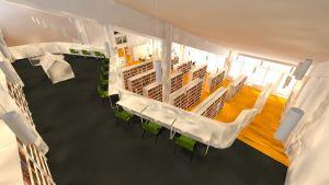 Läsbalkongen i Sibbo huvudbibliotek.