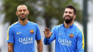 Mascherano på Barcelonas träningar.