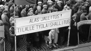 Demonstration på Senatstorget under generalstrejken, 1956