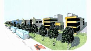 En skiss av det nya industriområdet på Kållbyvägen i Jakobstad