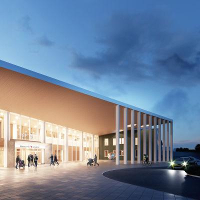 Havainnekuva Lapin keskussairaalan laajennuksesta