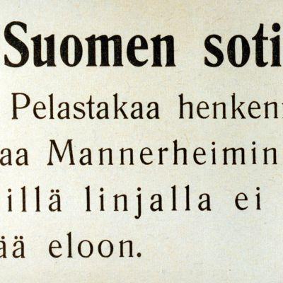 """Venäläisten sotapropagandaa vuodelta 1940. Lentolehtisen teksti: """"Suomen sotilaat! Pelastakaa henkenne! Paetkaa Mannerheimin linjalta. Sillä linjalla ei kukaan jää eloon."""""""