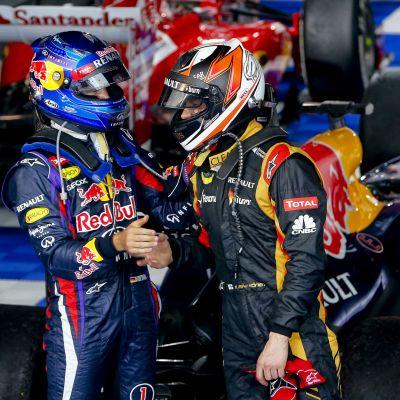 Kimi Räikkönen och Sebastian Vettel, våren 2013