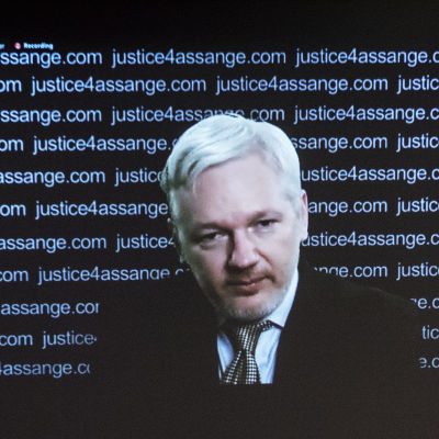 Wikileaks grundare Julian Assange håller presskonferens från Ecuadors ambassad
