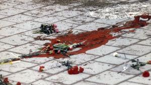 Platsen där Olof Palme sköts ihjäl i Stockholm 28.2.1986.