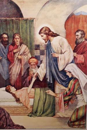 Jesus botar en sjuk kvinna på en gammal skolplansch.