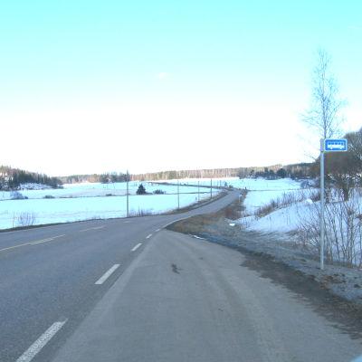 En landsväg i ett vintrigt landskap.