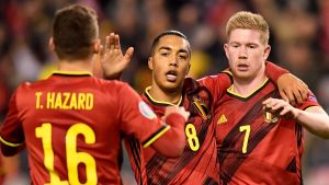 Belgien jublar efter mål.