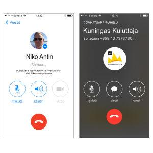 Kuvakaappaus Facebook Messenger ja WhatsApp -sovelluksista.