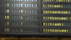 Tågtidtabell för M-tågets sista avgång