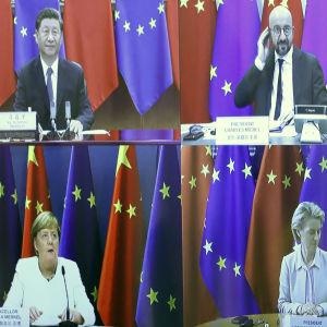 Kiinan ja EU:n johtajat videoyhteyksillä huippukokouksessa