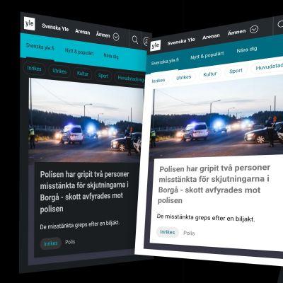 Skärmdumpar av svenska.yle.fi i mörkt och ljust läge