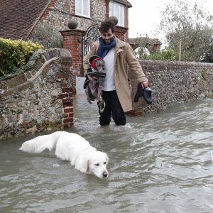 Översvämning i Dorset efter stormen Ciara