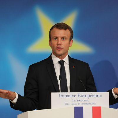 Ranskan presidentti Emmanuel Macron piti EU-linjapuheen Sorbonnen yliopistossa.