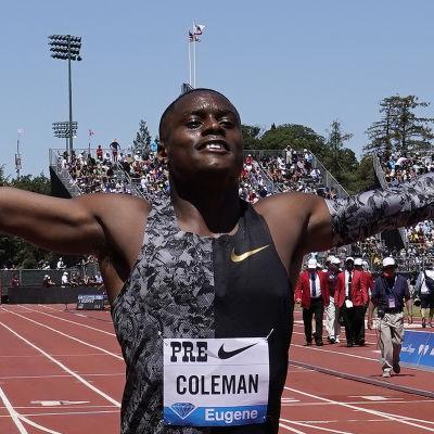 Christian Coleman firar segern i Stanford.