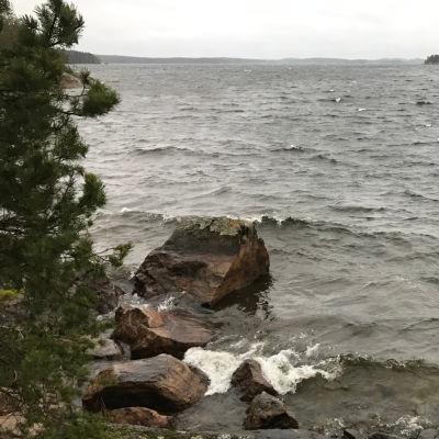 Aallokkoa Luonterin rannassa.