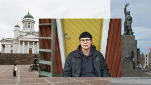 Till vänster Helsingfors domkyrka, till höger en staty p åVasa torg och i mitten Jonatan Sparv iklädd svart mössa och jacka.