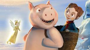Animaatiopossu seisoo selässään kori, jossa on poika.