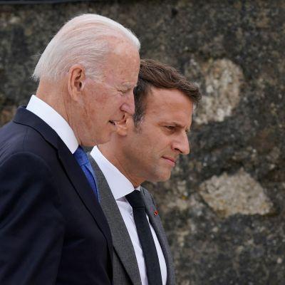 Joe Biden och Emmanuel Macron 11.6.2021