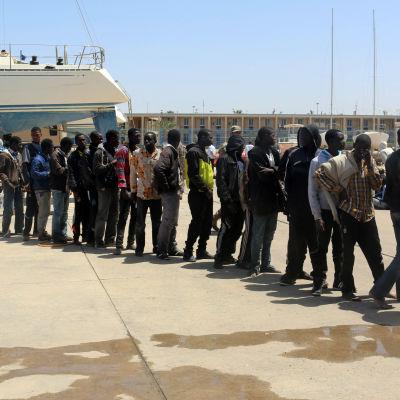 Afrikanska flyktingar som räddats från en sjunkande båt fördes tillbaka till Tripoli i Libyen.