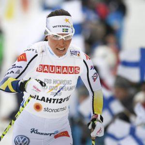 Charlotte Kalla har vunnit silver och brons i Lahtisterrängen.