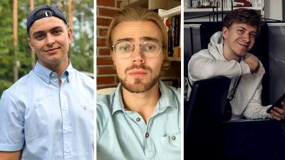 Collage på tre studerande.