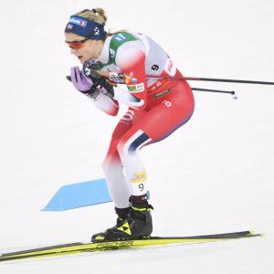 Vinnaren Therese Johaug hade inget sällskap i spåret i Lahtis.