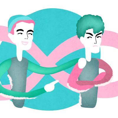 Två tecknade figurer. En av figurerna är arg.