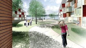 En kvinna går mellan två bostadshus. I förgrunden syns en sjö.