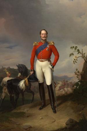 Drottning Victorias kommentarer under Nikolaj I:s besök i Storbritannien (1844) gjorde klart att hon beundrade kejsarens fysik. Möjligtvis uppfattade han det och lät därför Franz Krüger måla detta porträtt som han skänkte sin gästgivare.