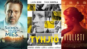 Elokuvajulisteet Suomen hauskin mies, Tyhjiö ja Viulisti.