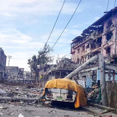 Ett kvarter i Marawi som ligger i ruiner efter strider mellan islamistrebeller och filippinska trupper. 5.6.2017