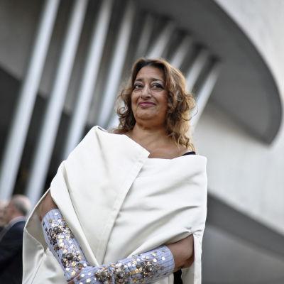 Zaha Hadid den 28 maj 2010 vid öppnandet av moderna museet i Rom (MAXXI) i Italien.