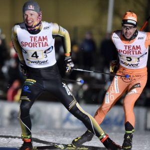 Iivo Niskanen och Ristomatti Hakola på ankarsträckan.