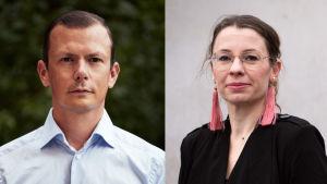 Collagebild på författarna Philip Warkander och Marie Ledendal.