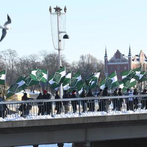 Nordiska motståndsrörelsen marcherar i Stockholm 12.11.2016