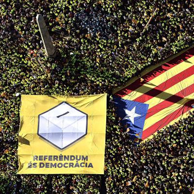 Jättedemonstration för ett självständigt Katalonien i Barcelona den 11 september 2017.