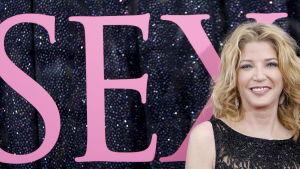 Författaren Candace Bushnell på New York-premiären av filmen Sex and the city.