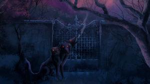 Kolme tarujen koiraa, kerberusta ulvoo pimeässä ja kylmässä yössä silmät kiiluen