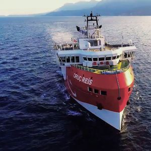 Den här bilden på forskningsfartyget Oruç Reis togs den 12 augusti när Ankara hade skickat ut fartyget till vattnen vid den grekiska ön Kastellorizo.