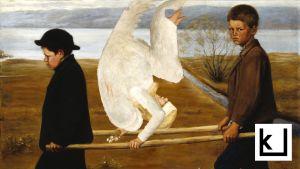 Kuvamanipulaatio Hugo Simbergin maalauksesta Haavoittunut enkeli