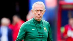 Australiens tränare Bert van Marwijk under ett träningspass.