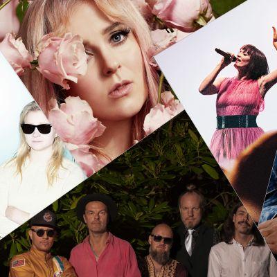Kaikki kotona live -ohjelman viikon artistit kollaasikuvassa.