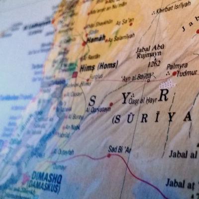 Karta av medelhavet och syrien.