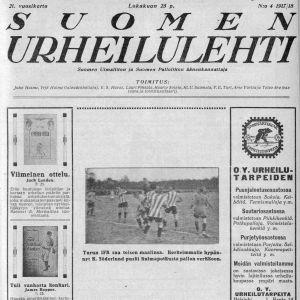 Åbo IFK gör sitt andra mål i finalen i FM i fotboll mot HJK 21.10.1917. K. Söderlund hoppar högst efter en hörna och nickar in 2-1. HJK vann slutligen matchen med 2-4.
