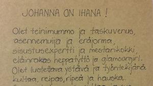 Tuhkimopäivä: Johanna