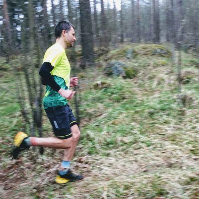 Australian trail runner Mark Lee runs through Helsinki's Central Park May 3, 2018.