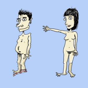 tecknad bild på naken man och naken kvinna