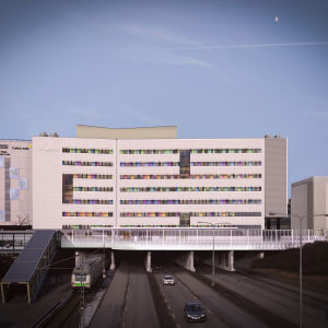 Havainnekuva Tyksin T3-sairaalasta etelästä, Kupittaan aseman suunnasta katsottuna.